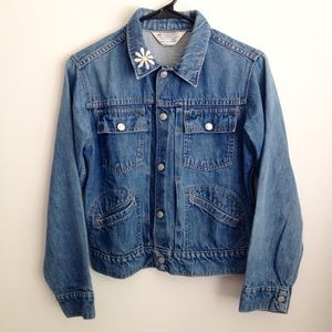 Vintage Jean Jacket Embroidered collar Sz S daisy